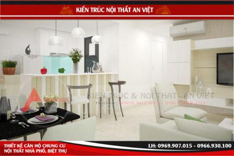 Thiết kế nội thất chung cư Mesteri 70m2 – 2 phòng ngủ Anh Phú