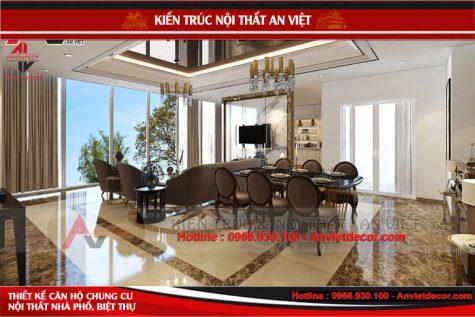 Thiết kế nội thất chung cư căn penhouse 120m2 tại Hà Nội